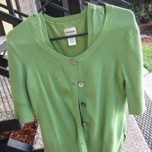 Green sweater set-short sleeved sweater & tank